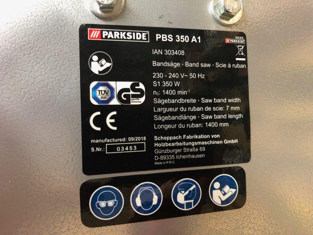 Pilarka taśmowa PARKSIDE PBS350A1 - tabliczka znamionowa